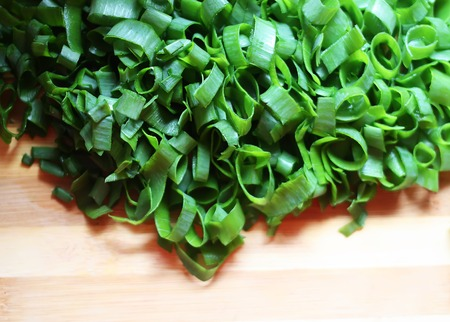 close up of sliced green raw onion Stock Photo