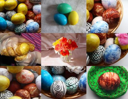 Easter collage with colorful eggs Stock Photo