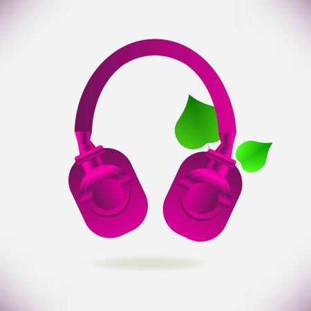 Pink headphones and bright green leaves