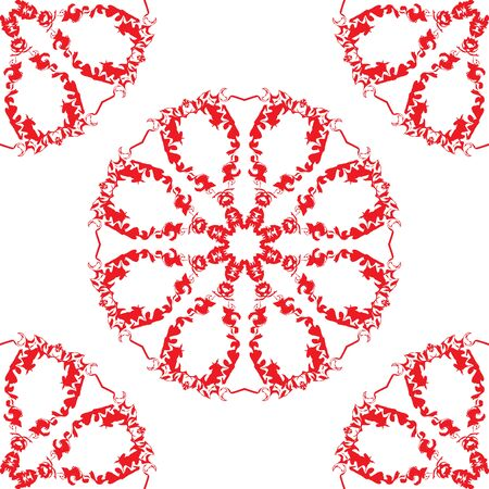 Colorful abstract bright . Decorative design texture with red lacy motifs. Illustration
