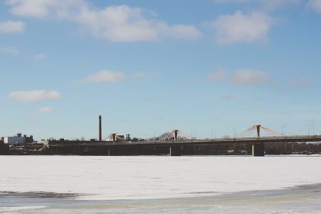 Winter landscape with a bridge in Riga, Latvia, East Europe