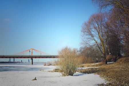Winter landscape with a bridge in Riga, Latvia, East Europe