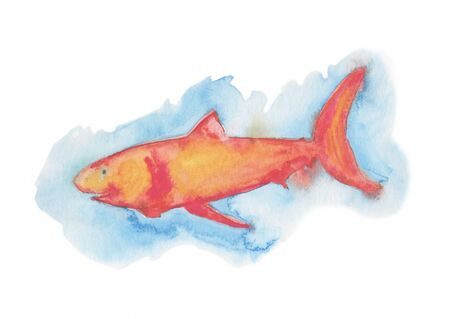Bright colorful fish. Hand painted watercolor illustration.
