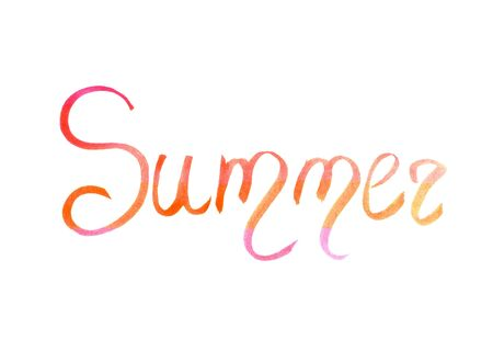 Word summer drawn by watercolor on white background