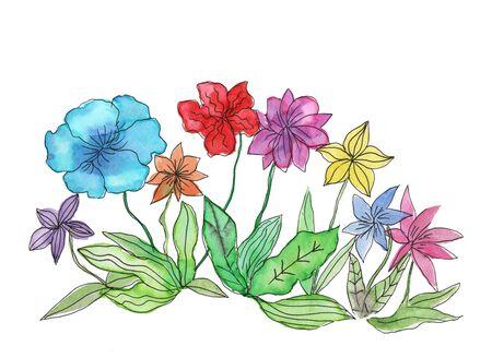 Watercolor illustartion of bright flowers. Stock Photo