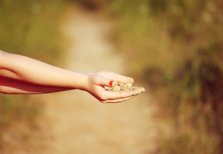 Childs hands with sand on summer nature background