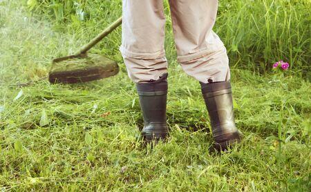 cutter: Gasoline lawn trimmer mows a grass in the garden.
