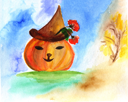 Happy Halloween card with watercolor pumpkin on abstract background. Stock Photo