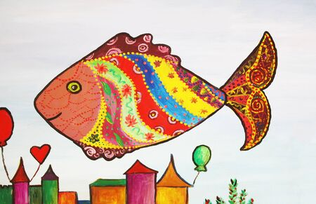 Hand drawn illustration of cute fish with ornaments Stock Photo
