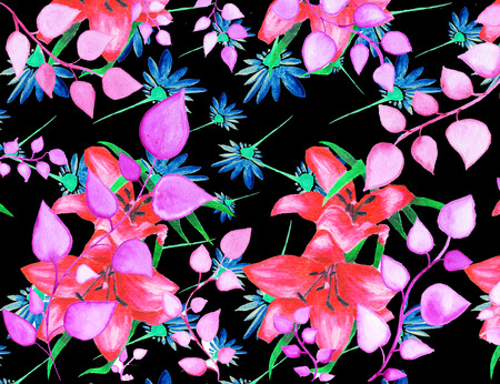 Abstract ornaments, seamless floral decorative pattern illustration Stock Photo