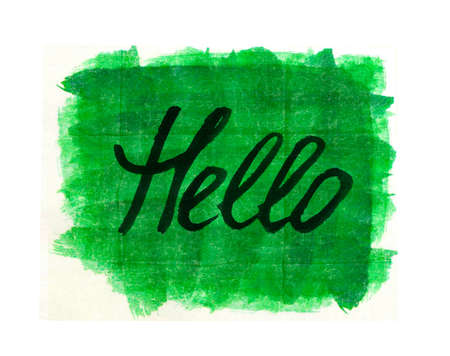 greet card: HELLO hand written word on green watercolor background