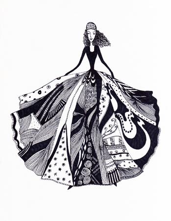 Hand drawn fashion girl portrait, vector illustration.