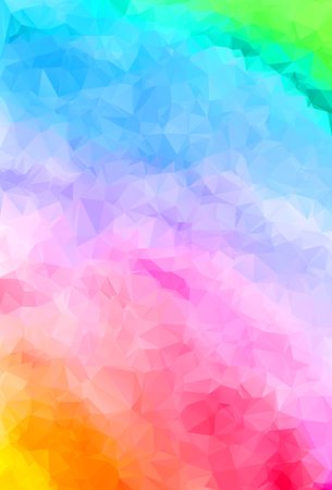 Abstract geometric colorful background of triangular polygons in rainbow colors. Vector illustration. Retro mosaic triangle bright trendy pattern for web, business template, brochure, card, poster, banner design.