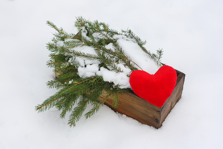 Red mittens, paper dog figures and green fir tree branches in wooden decorative box on snow. Stock Photo