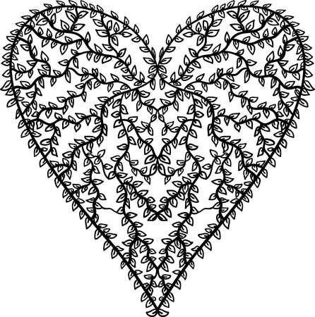 Heart shape of leaves on white background. Design element for Valentines day card.