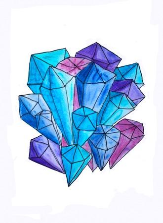 Blue crystals, watercolor illustration.