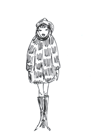 Hand drawn illustration of hipster girl in coat.