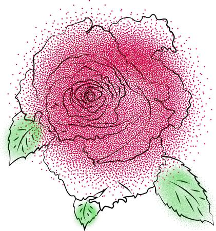 Dotted stylized rose flower. Floral element for greeting cards, invitations, web.