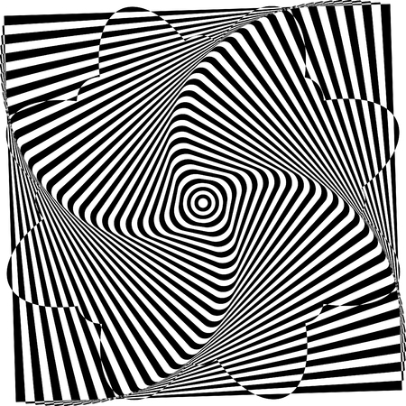 Abstract twisted black and white background. Optical illusion of distorted surface. Twisted stripes. Radial pattern. Vector Illustration