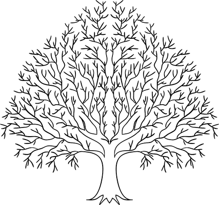Illustration of black tree silhouette isolated on white background. Vettoriali