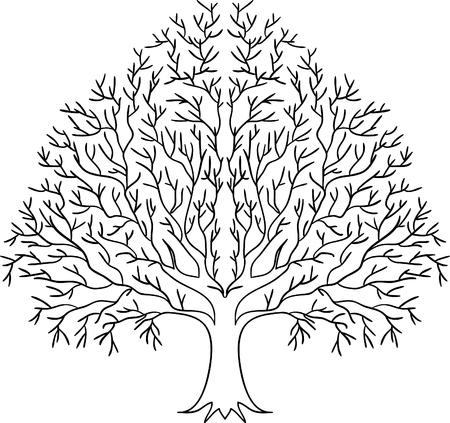 Illustrazione della silhouette albero nero isolato su sfondo bianco.