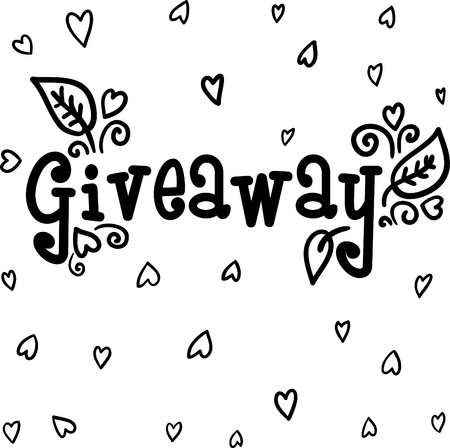 Giveaway lettering. Doodle style with floral elements.