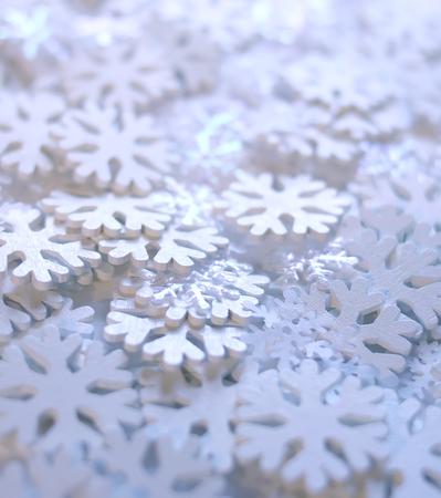 White artificial snowflakes on soft Foto de archivo