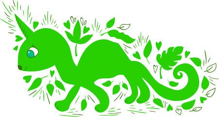 Cute fantastic animal. Cartoon character. Funny illustration. Illustration