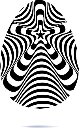Abstract twisted black and white oval background. Optical illusion of distorted surface. Twisted stripes. Stylized 3d texture. Vector illustration. Ilustrace