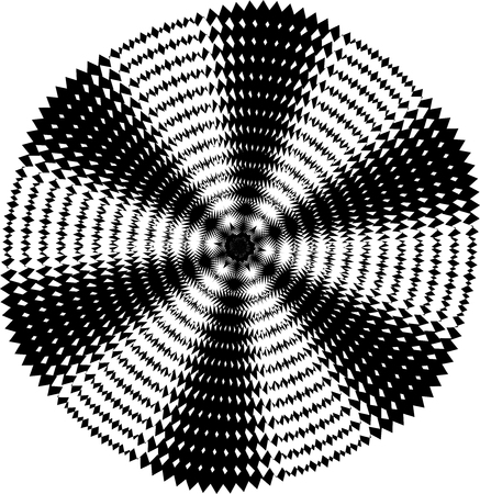 Abstract twisted black and white background. Optical illusion of distorted technology surface. Twisted stripes. Stylized 3d texture. Vector illustration.