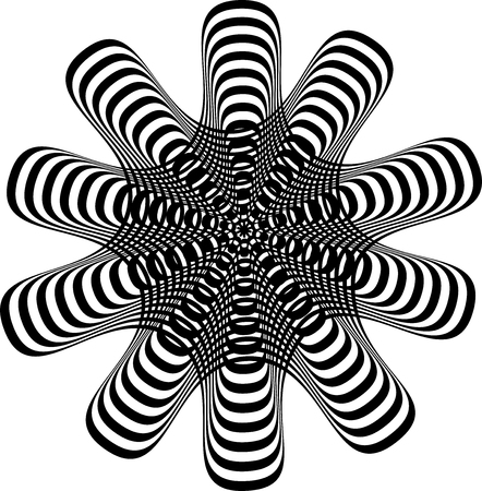 Abstract twisted black and white background. Optical illusion of distorted surface. Twisted stripes. Stylized 3d texture. Vector illustration.