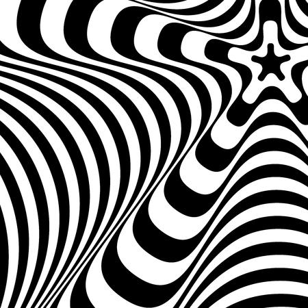 Streszczenie skręcone czarno-białe tło. Złudzenie optyczne zniekształconej powierzchni. Skręcone paski. Stylizowane tekstury 3d. Ilustracja wektorowa.