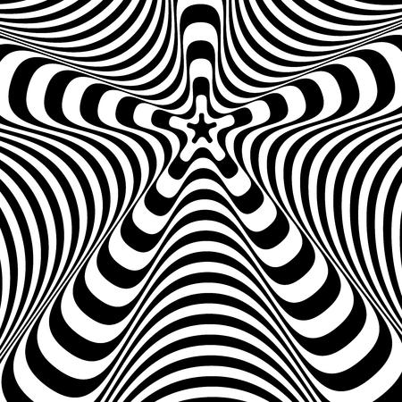 Fondo in bianco e nero torto astratto. Illusione ottica di superficie distorta. Strisce intrecciate. Struttura 3d stilizzata. Illustrazione vettoriale. Vettoriali