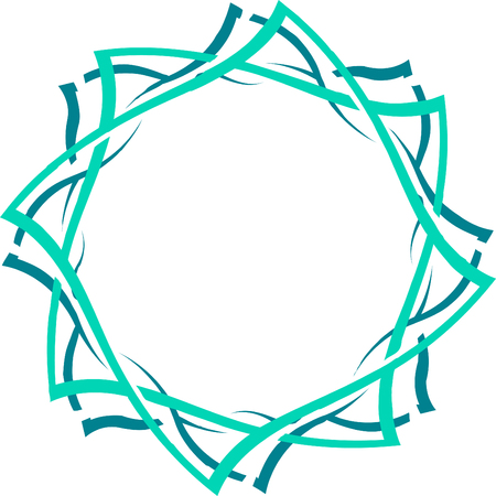 Abstract green twisted frame. Decorative element for design. Çizim
