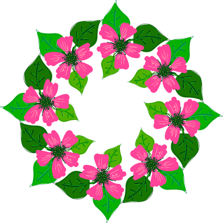 Abstract floral wreath or frame with pink flowers and green leaves. Decorative element for design.