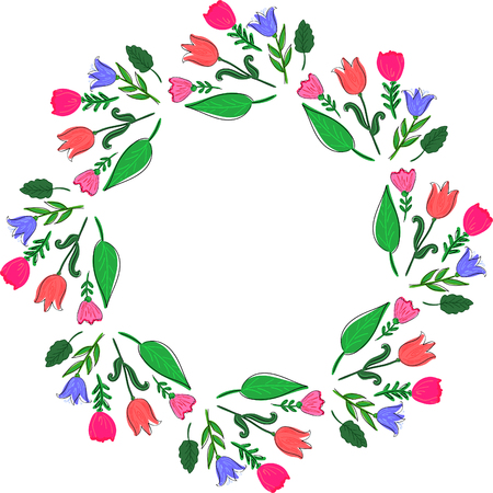 Abstract floral wreath or frame with summer bright flowers and green leaves. Decorative element for design.