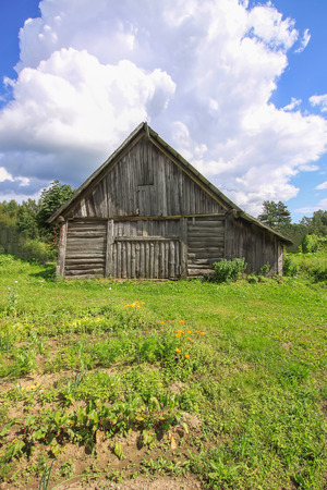 Summer landscape in the countryside in Latvia, East Europe. Old wooden shed.