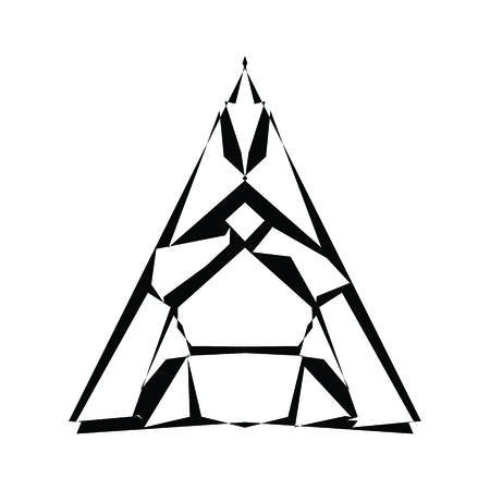 Stylized triangle of twisted lines. Abstract logo. Modern geometric style design template.