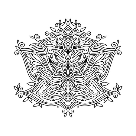 Abstract ornamental decorative design element for yoga mat, cover, sticker, prints, coloring book. Floral pattern element. Indian, turkish, arabic motifs. Bright ethnic floral arabesque.