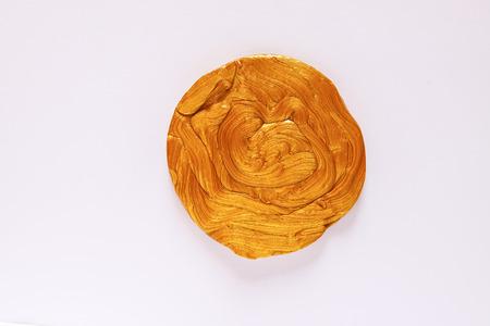 Golden plasticine soft stretchable texture. Anti-stress toy for kids activities, handmade, fun. Stok Fotoğraf