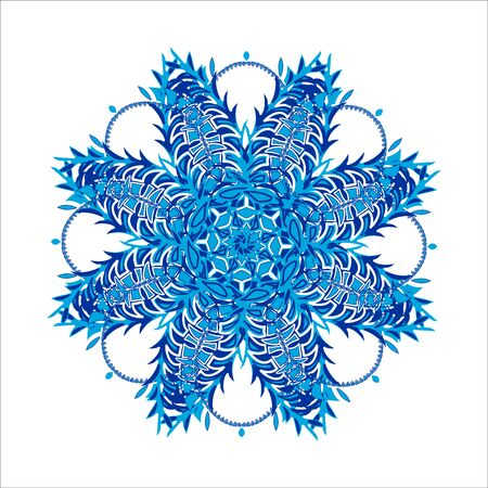 Winter design element. Stylized Christmas snowflake on white background. Ornate shape.
