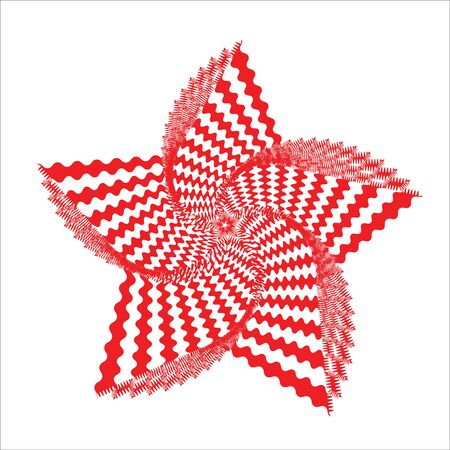 Abstract twisted zigzag line red shape. Optical illusion.