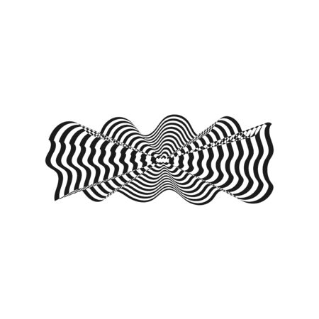 Abstract twisted black and white background. Optical illusion of distorted surface. Twisted stripes illustration. Great for wall art, poster, banner, web.