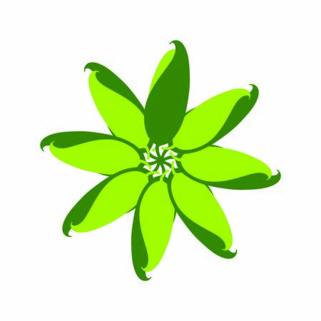 Abstract shape of green leaves. Decorative herbal design element on white background for labels, cards, advertisement, scrapbook, web
