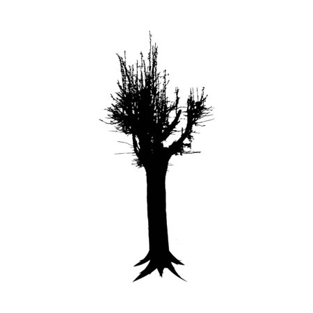 Black tree silhouette isolated on white background. Forest nature element. Vector illustration.
