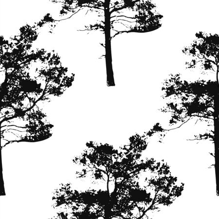 Black and white seamless background with pine tree silhouettes. Forest nature element. Vector illustration. Vettoriali