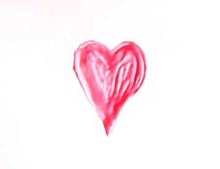 Hand drawn shape of the heart. Sample of pink lip gloss on a white background.