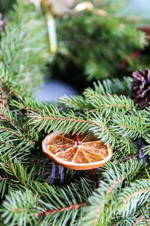 Fir-tree decorated with dry orange slices 写真素材