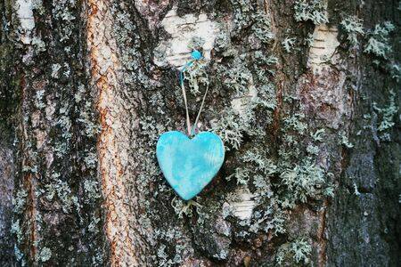 Wooden heart decoration in the garden on autumn nature background