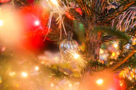 Decorations on fir-tree branches for New Year and Christmas